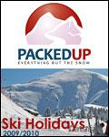 Packedup Ski Holidays brochure cover from 19 August, 2009