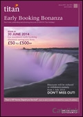 Titan Travel: Early Booking Bonanza brochure cover from 13 June, 2014